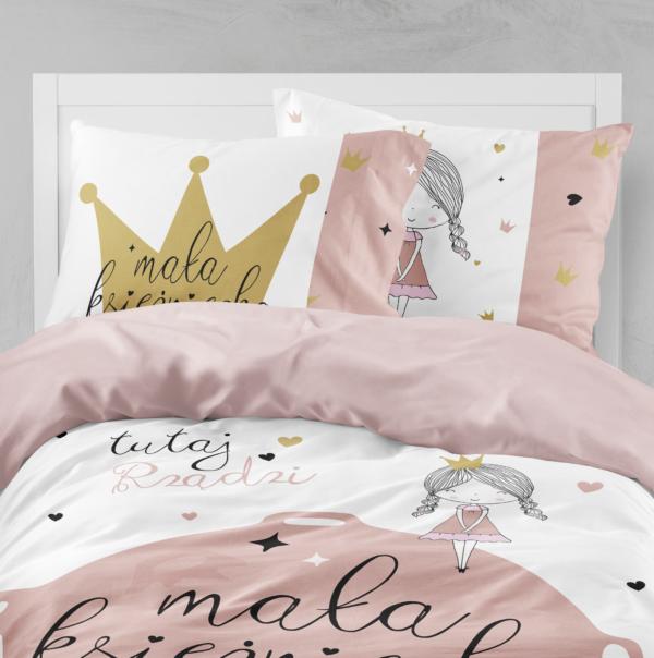 Pościel dla dziewczynki - Mała księżniczka z poduszką złota korona 100x160